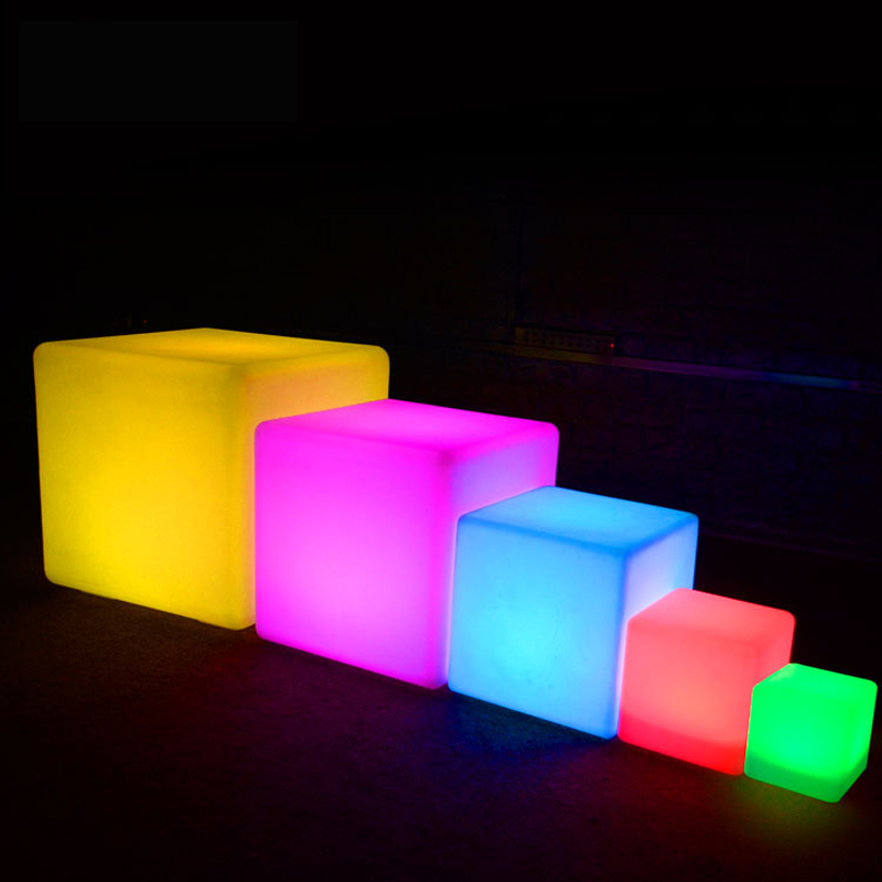 Outdoor Waterproof Cube Chair Rechargeable LED Night Light RGB Remote Control lamps pool bar table cafe ktv hotel decor lighting 30cm color changing remote control party pool magic waterproof rgb night lighting lamp globe