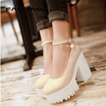 Mary Janes Punk Womens Round Toe Block Chunky High Heel Platform Pumps Ankle Strap Shoes Plus Size US4.5-10.5