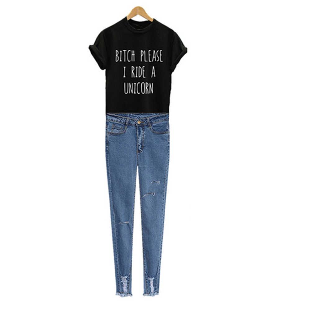 bf08c354 ... Funny Cotton Harajuku Women T-shirt BITCH PLEASE I RIDE A UNICORN  Letters Print Summer