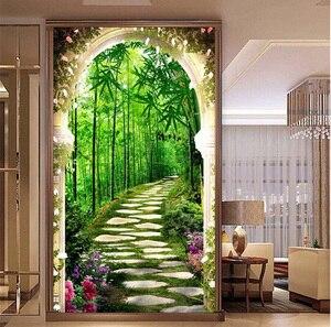 Image 5 - QIANZEHUI, bordado de diamantes, Diamante redondo profundo en el bosque de bambú completa Diamante de imitación 5D pintura de diamante punto de cruz, costura