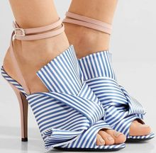 Summer Striped High Heels Sandals Women Ankle Strap Gladiator Sandals Women Open Toe Bowtie Shoes Woman Plus Size 34-43 coolcept size 34 43 simple women wedges sandals open toe ankle strap rivet sandals summer daily leisure shoes women footwear