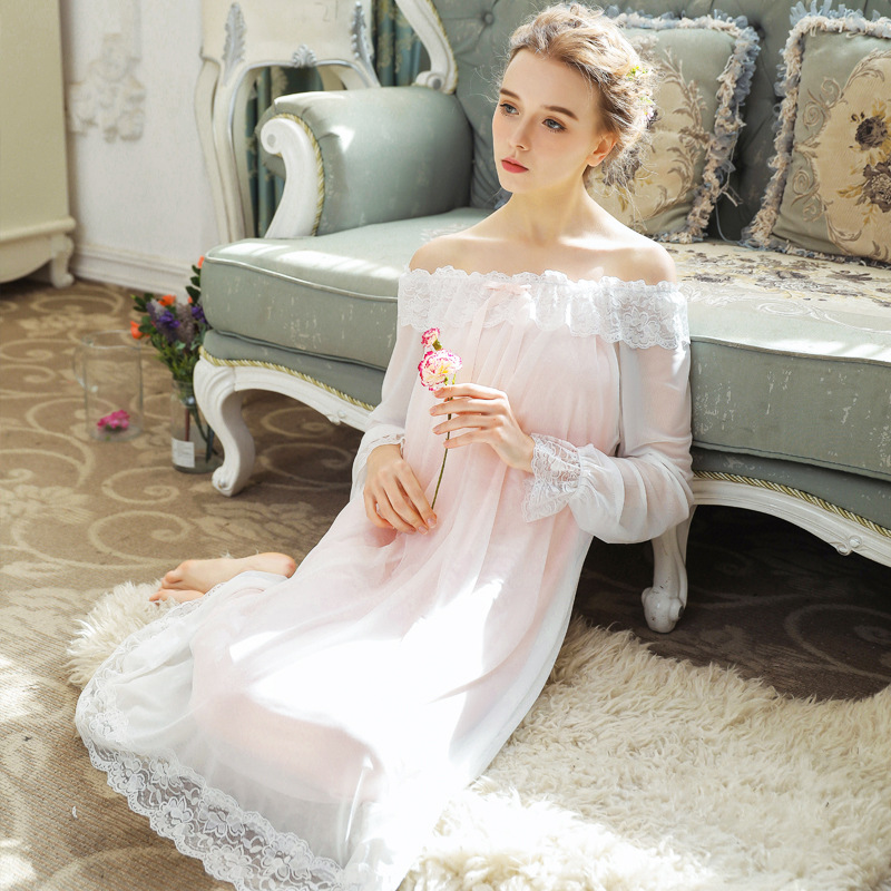 Modal Sexy Off Shoulder Long Nightdress Women Lace Sweet Princess Sleepwear Dress Soft Elegant Solid Color   Nightgown     Sleepshirts