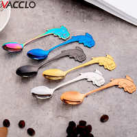 Vacclo New Dolphin Hanging Cup Coffee Spoon 304 Food Grade Stainless Steel Spoon Creative Titanium Bright Mixing Dessert Spoon