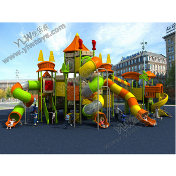 2017 large amusement plastic outdoor playground slide with CE/TUV park playground equipment play structure