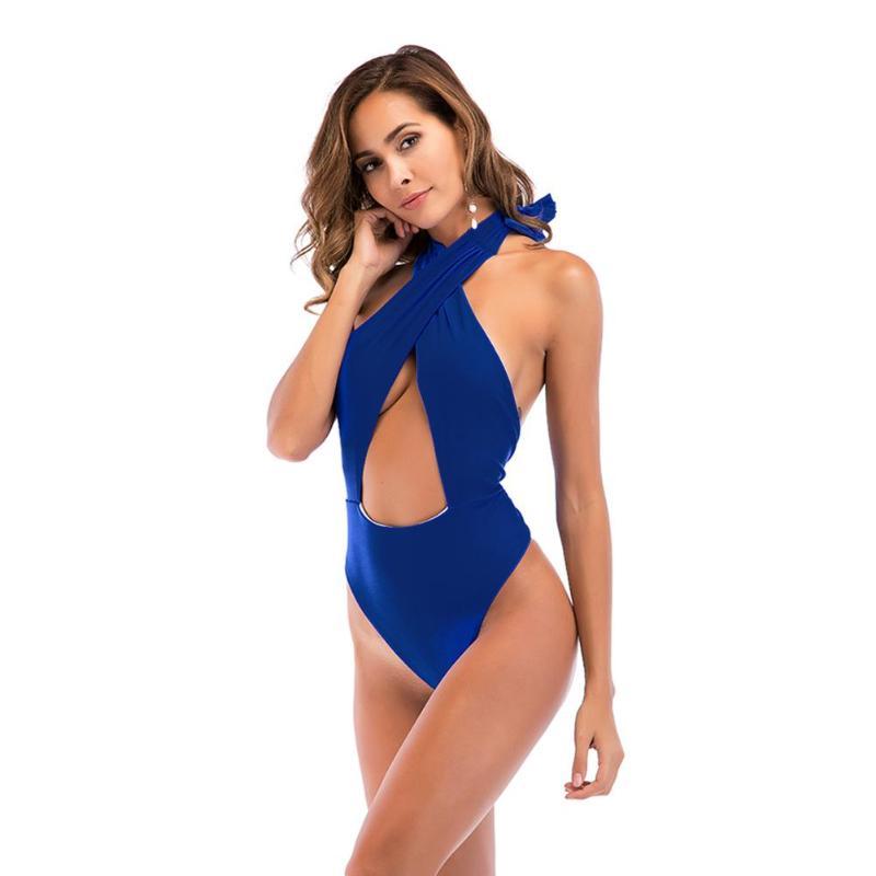 2018Sexy Hollow Halter Cross Bikini Solid Color Padded Women One Piece Swimwear BeachWear Brazilian Backless Bodycon BathingSuit
