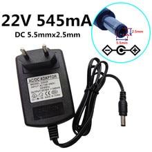 22 V 0.545A universal Adaptador de Alimentação AC DC Conversor de Energia volts 22 545mA Adaptador DC 5.5 milímetros * 2.5 milímetros e 5.5x2.1mm UE/REINO UNIDO/EUA/AU plug