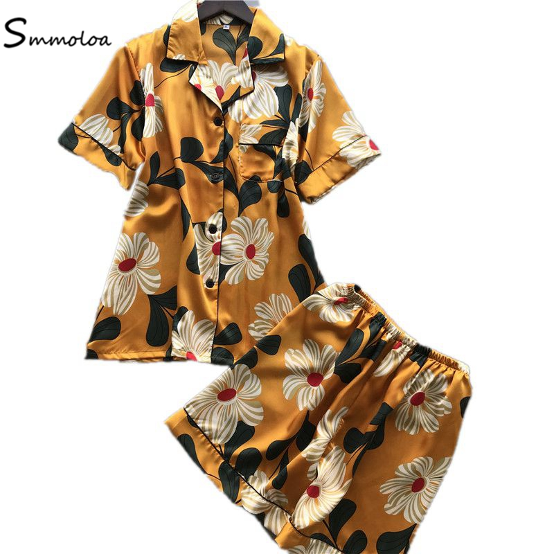 Smmoloa Summer Short Sleeve Silk   Pajamas     Set   Two Pieces Women Sleepwear Sexy Nightwear for Women