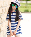 Teenage Girls Fashion Tops 2015 Summer Girl's Chiffon T-Shirt with Stripes Short-sleeve Open Shoulder T-shirts Children Tees
