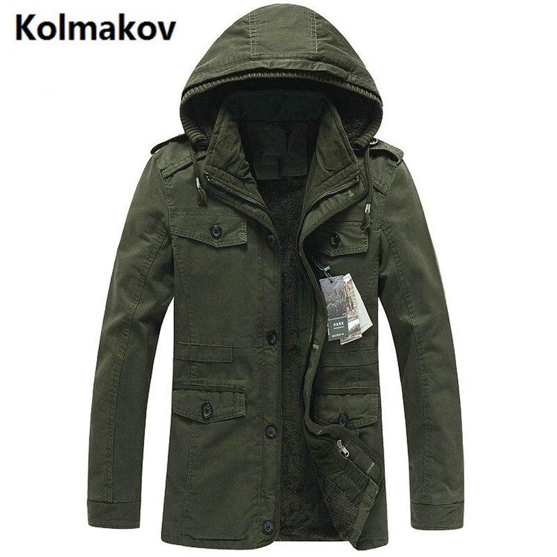 KOLMAKOV de 2017 Hommes occasionnels 100% coton cowboy vestes Manteau Hommes de Chapeau détachable épaississent tranchée manteau veste hommes brise-vent