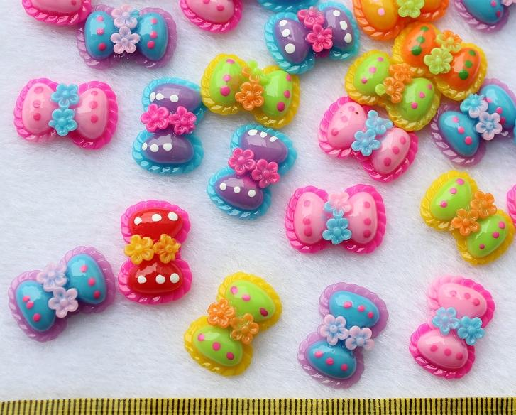 250pcs Polka Dot Flower Bows Kawaii DIY Deco Flatback Appliques Buttons Supply stash Cabochon Cabs 18mm Resin