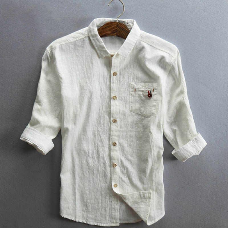 快適な 2019 夏男性リネンシャツ 3 分袖カジュアルコットンリネン薄型シャツプラスサイズ 4XL 5XL