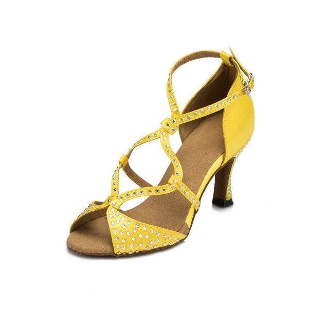 Women s Yellow Black Khaki Satin Rhinestones Latin Dance Shoes Ladies  Glitter Ballroom Tango Salsa Professional Dance Shoes 674b4602e2a9