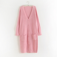 The Korean New Spring And Autumn Long Paragraph Maternity Women Sweater Pocket Large Loose Cardigan Knit