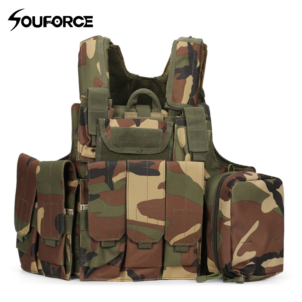 9 Color Outlife Camouflage Hunting Military Tactical Vest Wargame Body Molle Armor Hunting Vest CS Outdoor Jungle Equipment