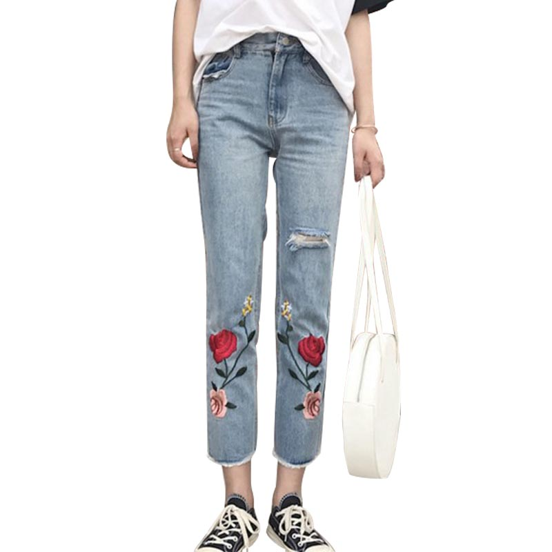 Spring Ladies Korean Flower Embroidery Loose Thin Jeans 2017 New Harajuku Women Burr Hole Straight Legged Denim Pencil Pants