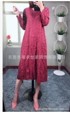 HOT SELLING  Miyake Fashion fold  V-NECK long sleeve  Embossed loose dress IN STOCK