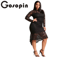 Gosopin Plus Size Floral Lace XXXL Women Club Dress Sexy Long Sleeve Party Mermaid Dresses Asymmetrical