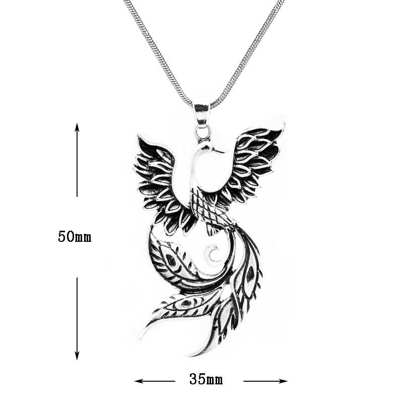 1pc Large Phoenix Necklace Chinese Ancient Fire Bird Pendant For Women Inspired Totem Necklace Jewelry