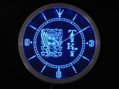 Nc0348 Tiki Bar surfeur masque bière néon signes horloge de mur LED