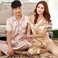 2016 New Pajamas for Couples Summer Love Men Sleep Women V-Neck luxurious Silk Pajama Set