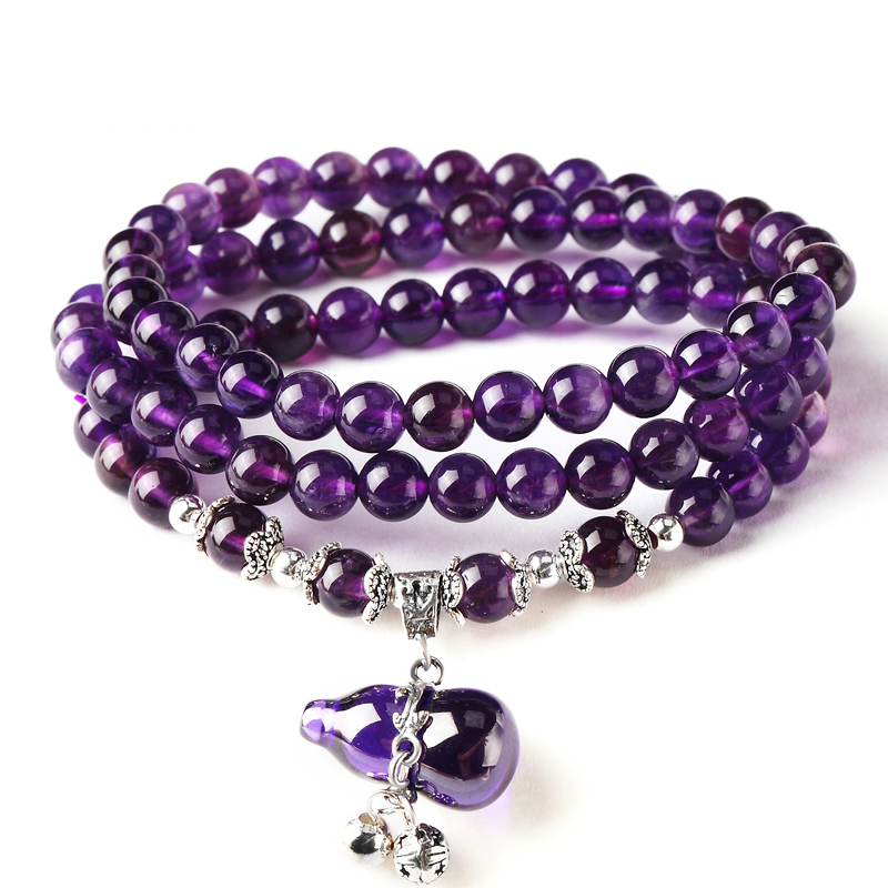925 Silver Natural Bracelet White Crystal Multi-turn Purple Hyacinth Bracelet to Send His Girlfriend Gifts