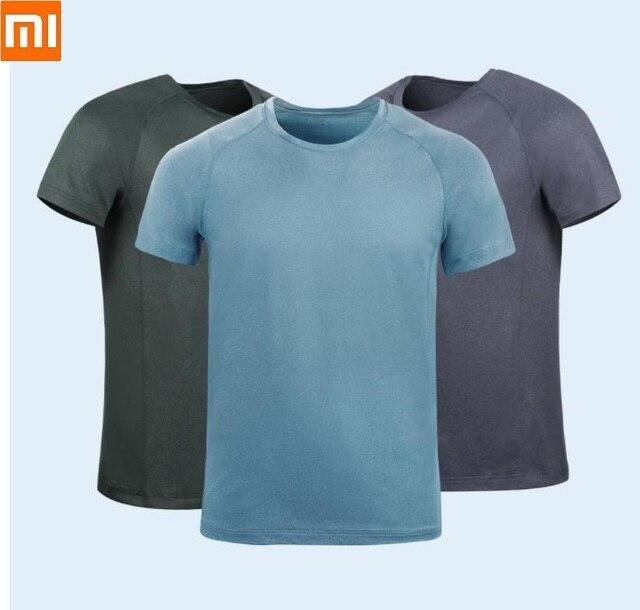 Мужская быстросохнущая рубашка Xiaomi, влагопоглощающие дышащие Светоотражающие быстросохнущие Топы с коротким рукавом для бега и фитнеса