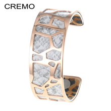 Cremo Rose Gold Bangle For Women Snakeskin Leather Stainless Steel Hollow Bracelet 25mm Cuff Arm Jewelry Valentine