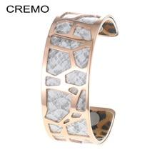 Cremo Rose Gold Bangle Voor Vrouwen Slangenhuid Lederen Rvs Hollow Armband 25mm Manchet Arm Sieraden Valentine