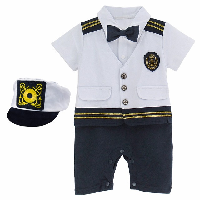 95dcf99f7ab Baby Boys Captain Costume Romper With Hat Newborn Infant Halloween Cosplay  Jumpsuit Outfit Toddler Skipper Playsuit Ropa Bebe
