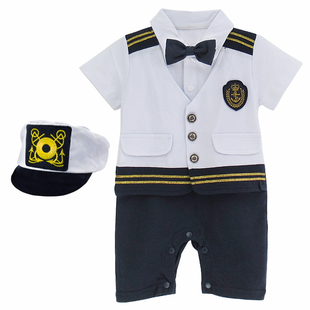 Baby Boys Captain Costume   Romper   With Hat Newborn Infant Halloween Cosplay Jumpsuit Outfit Toddler Skipper Playsuit Ropa Bebe