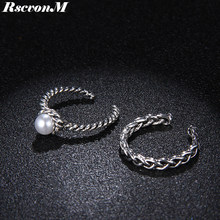 RscvonM 2pcs/set Vintage Finger Rings Sets Simulated Pearls Jewelry Anel Anillos Braid Antique Statement Open Ends Ring Carved(China)