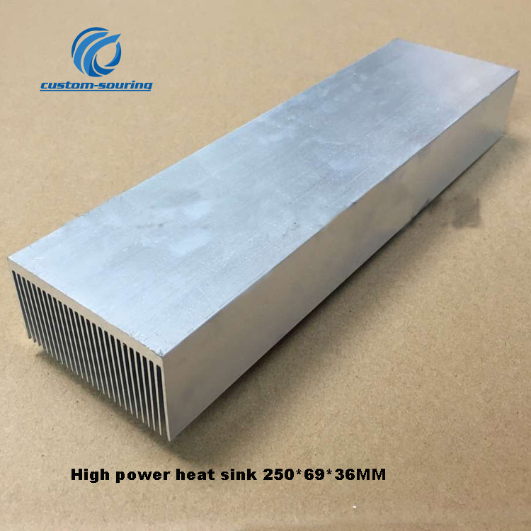 1PC High Power Amplifier Radiator 250*69*36MM Audio Amplifier Heatsink Silver LED High Power Heat Sink