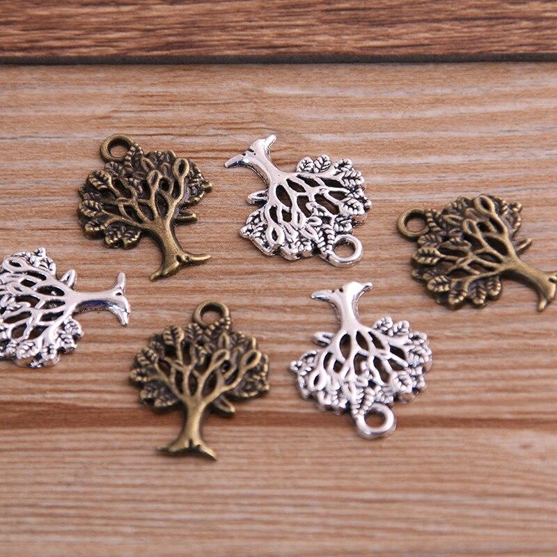 PULCHRITUDE 30PCS 16*21mm Plant Charms Tree Pendant Two Color DIY Retro Jewelry Bracelet Necklace Charms Pendant P6526