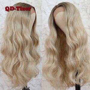 Image 2 - QD Tizer שיער תחרה מול פאת בלונדינית Ombre שיער חום שורש טבעי Glueless סינטטי תחרה קדמית נשים