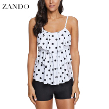 Zando Plus Size Two Piece Swimsuit Polka Dot Print Swimwear Women Ruffle Tankini Push Up Shorts Bathing Suit  Beach Pad