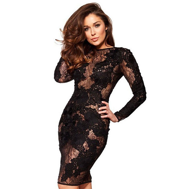 2018 Sukienka Sexy See Through Club z długim rękawem Haftowana Elegancka sukienka Vestido Black White Women Lace Hollow Out Bodycon