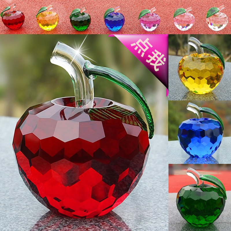 40mm Healing Crystal Apple Paperweight Glass Apple Craft Christmas Decoration Wedding Giveaway Gifts