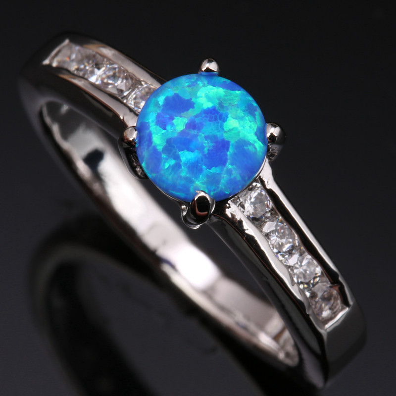 Rings Brave Trendy Gems Sky Blue Fire Opal & White 925 Sterling Silver Jewelry Us# Size 6 7 8 9 Sf1155 Good For Energy And The Spleen