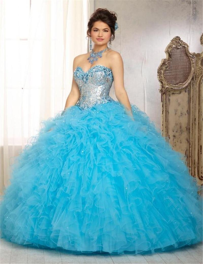 2015 Sweetheart Ruffled Long Ball Gowns Sequins Crystal Women ...