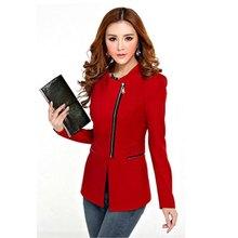 2016 Fashion Long Sleeve Zipper Suit Women Coat Solid Suit Jacket Blazer Tops New