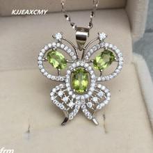 KJJEAXCMY boutique jewelry,Natural Peridot Women's Pendant Wholesale 925 silver inlaid beautiful butterfly pendant wholesale wholesale