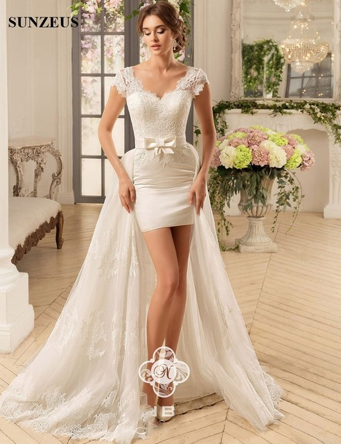 Detachable Train High Low Sexy Short Wedding Dresses Sweetheart Cap Sleeve Lace Summer Beach Wedding Gowns robe mariage S1099