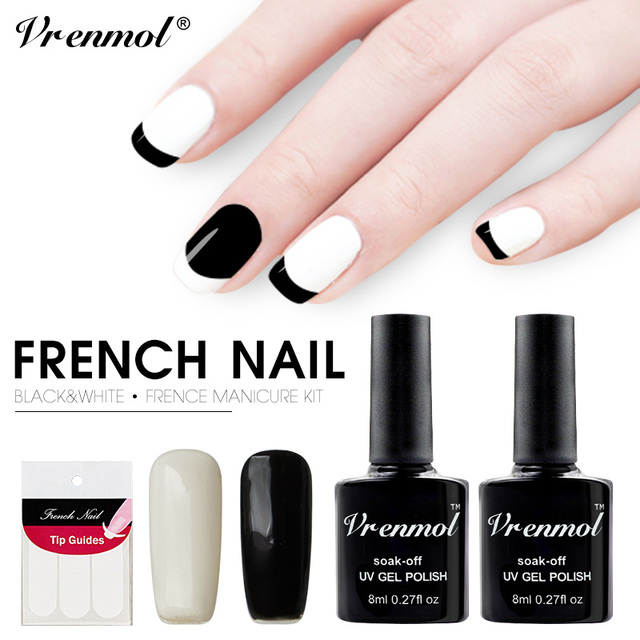 Vrenmol 2pcs Black White Color Gel Varnish French Manicure Set Nail Polish Art Sticker