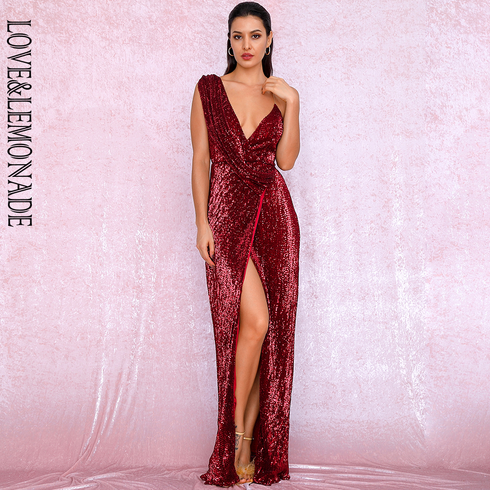 LOVE&LEMONADE Sexy Deep Red Deep V-Neck Whit Split Sequins Party Maxi Dress LM81849 Autumn/Winter