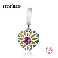 FirstQueen Pure 925 Sterling Silver Enamel Heart Pendant Charm Fit Original Bracelet Necklace Authentic Jewelry New