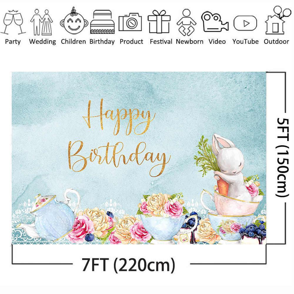 أرنب خلفية للتصوير الأزرق موضوع حفلة عيد ميلاد سعيد صور خلفية الشاي حفلة الزهور خلفية للاستوديو