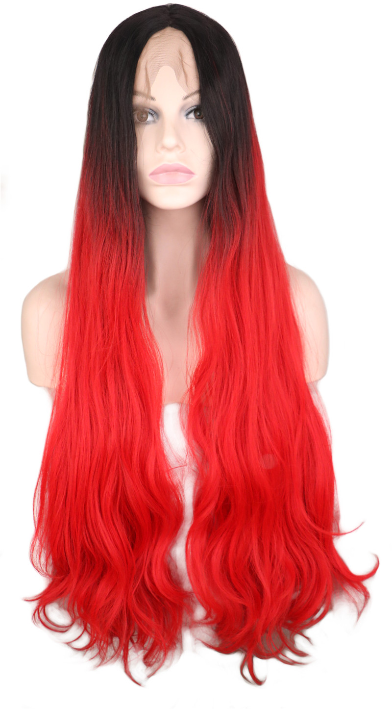QQXCAIW Long Body Wave Glueless Natrual Lace Front Wig For Women Ombre Black To Red Synthetic
