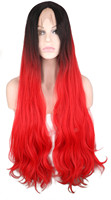 QQXCAIW Long Body Wave Glueless Natrual Lace Front Wig For Women Ombre Black To Red Synthetic Hair Wigs
