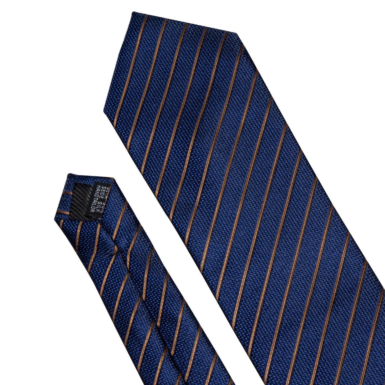 """Мужской галстук золотой темно-синий полосатый 100% шелковый галстук Barry. Wang 3,4 """"жаккардовые вечерние свадебные тканые модные дизайнерские галстук для мужчин DS-5032"""
