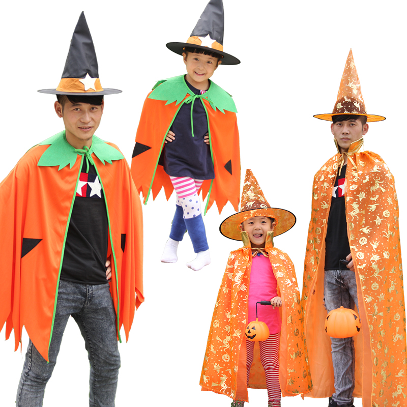 2018 Pumpkin Cloak Halloween Fancy Dress Birthday Party Gift Party Adults Kids Pumpkin costume Cosplay Costume Outfits Dress Up